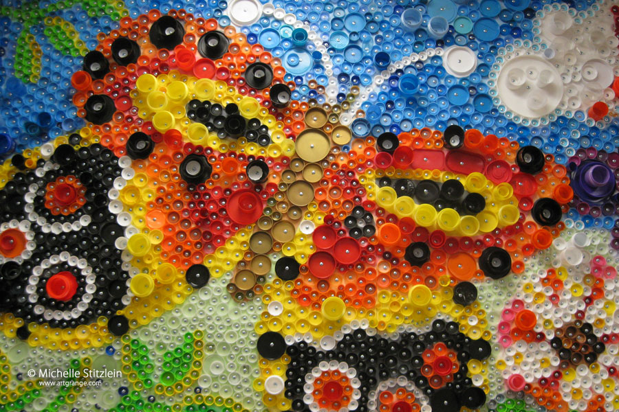 michelle stitzlein bottlecap art
